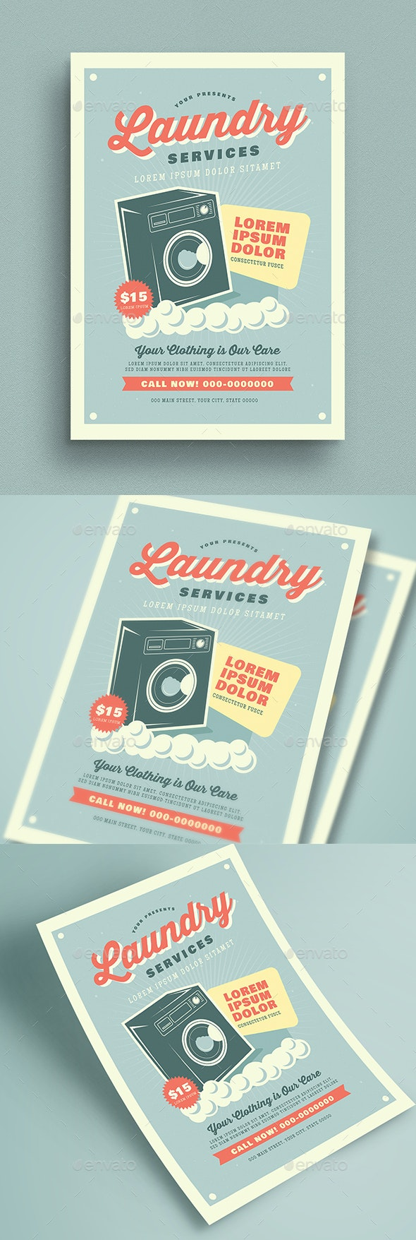Retro Laundry Service Flyer - Commerce Flyers