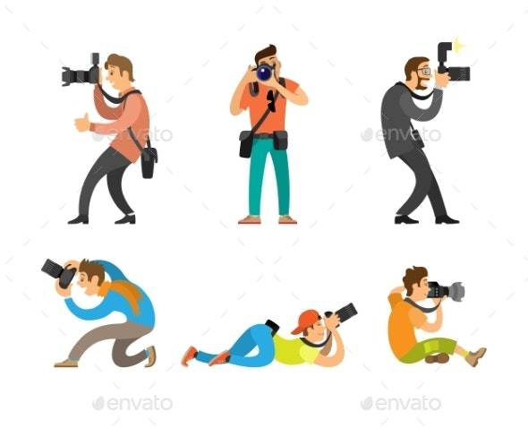 Photographers and Paparazzi with Photo Cameras - People Characters