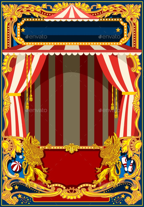Carnival Poster with Circus Tent - Backgrounds Decorative