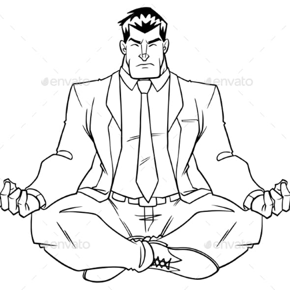 Businessman Meditating Line Art