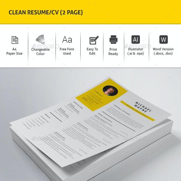 Clean Resume/CV (2 Page)