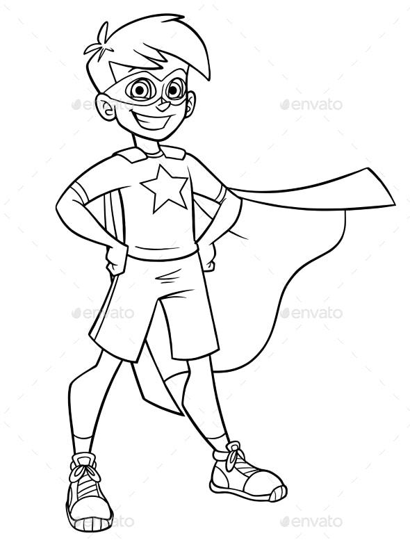 Little Super Boy Line Art - People Characters
