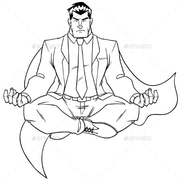 Super Businessman Meditating Line Art - People Characters