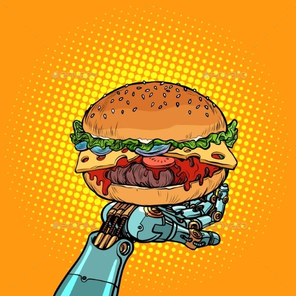 Burger on a Robot Arm - Food Objects