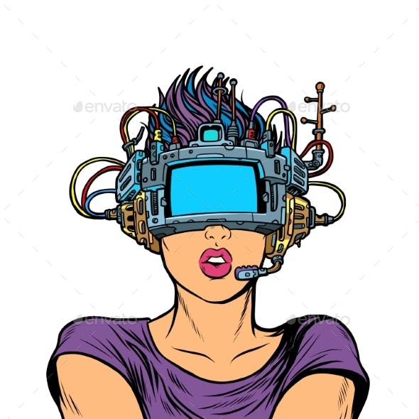 Surprised Woman in VR Glasses - People Characters