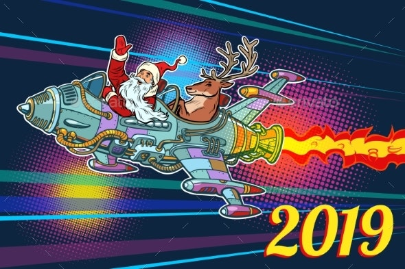 2019 New Year Retro Santa Claus with a Deer - Christmas Seasons/Holidays