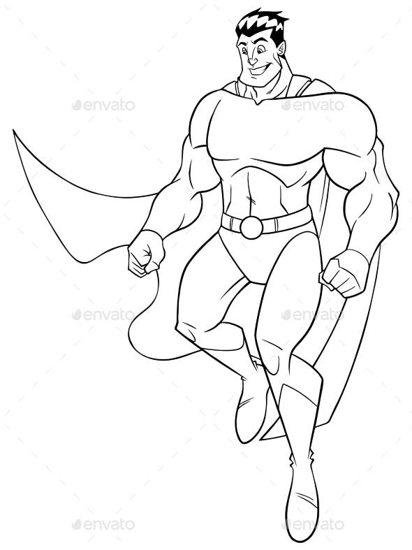 Superhero Flying Happy Line Art - People Characters