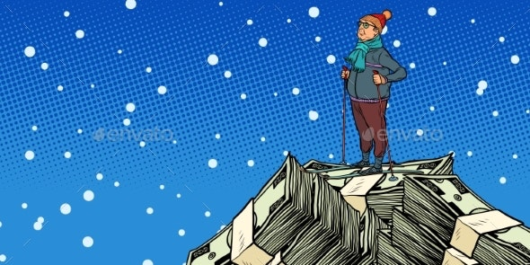 Skier Middle-Aged Man Money Dollars Mountaintop - Concepts Business