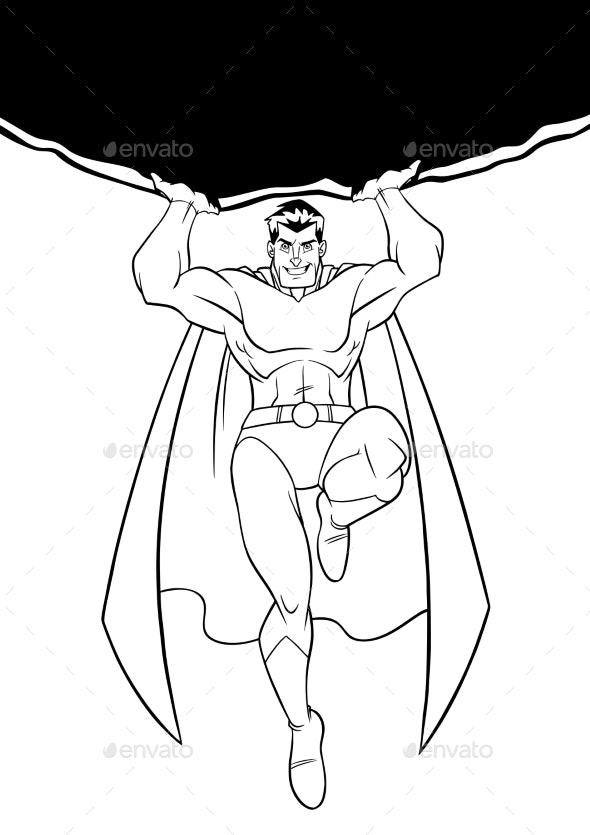 Superhero Holding Boulder Line Art - People Characters