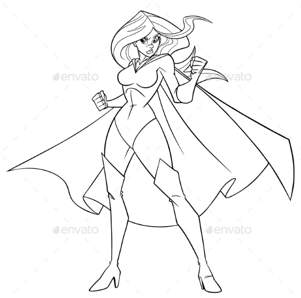 Superheroine Battle Mode Line Art - People Characters