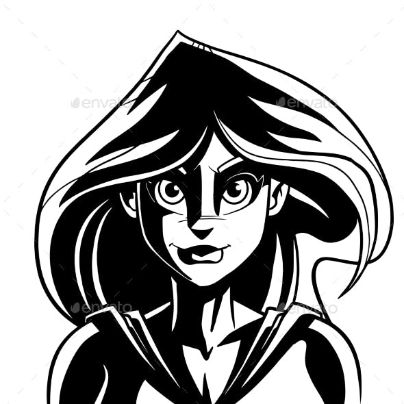 Superheroine Dark Portrait Line Art