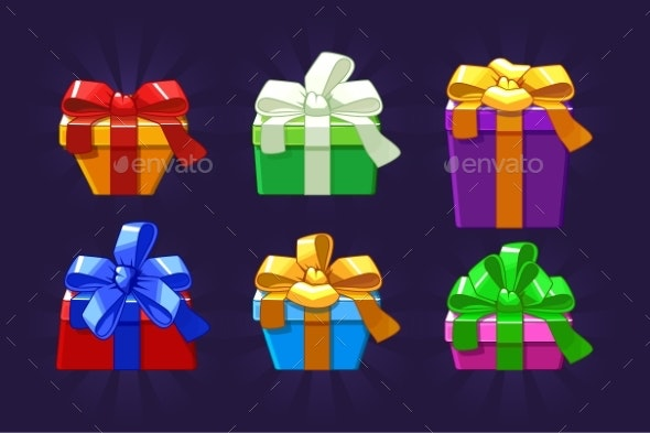 Cartoon Different Colored and Shape Gift Box - Christmas Seasons/Holidays