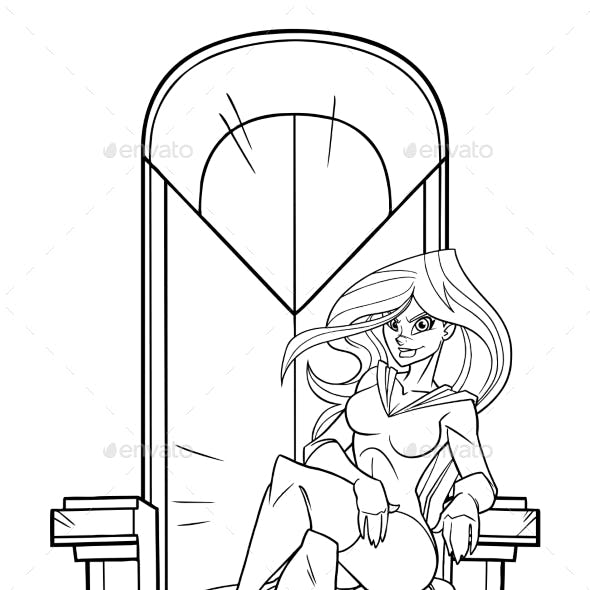 Superheroine on Throne Line Art