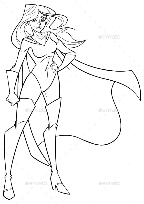 Superheroine Standing Tall Line Art - People Characters