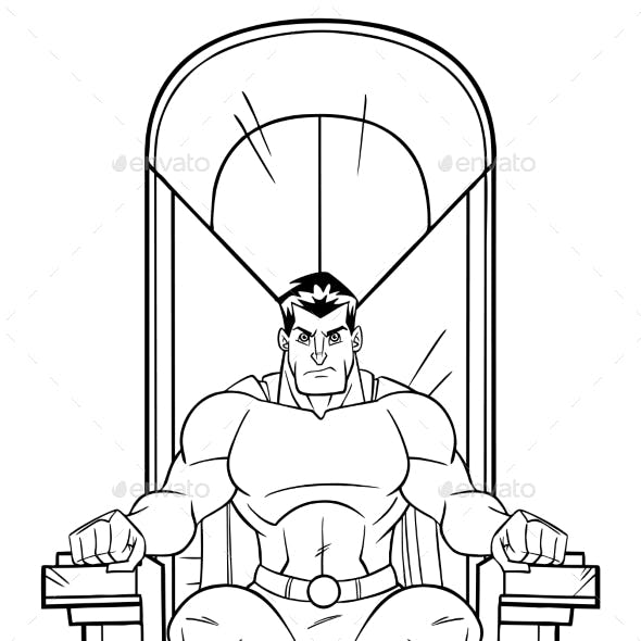 Superhero on Throne Line Art