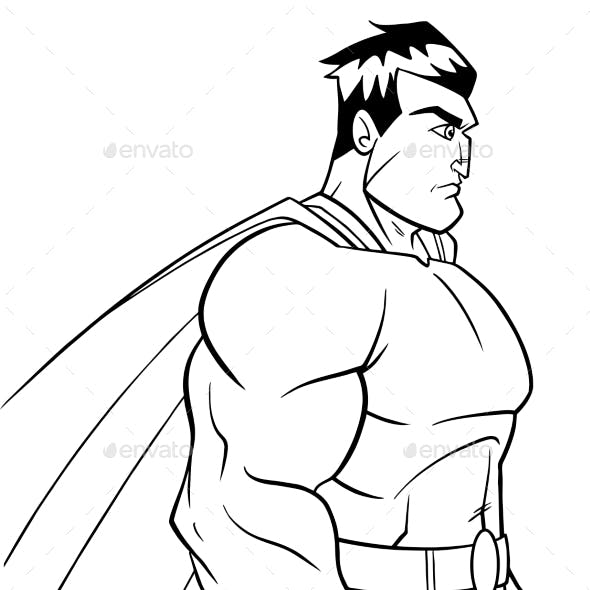 Superhero Side Profile Line Art