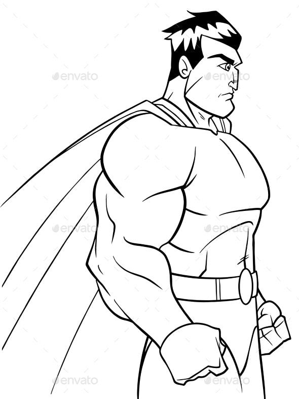 Superhero Side Profile Line Art By Malchev Graphicriver