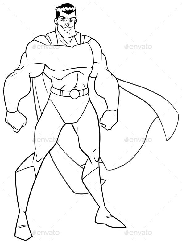 Superhero Standing Tall Line Art - People Characters