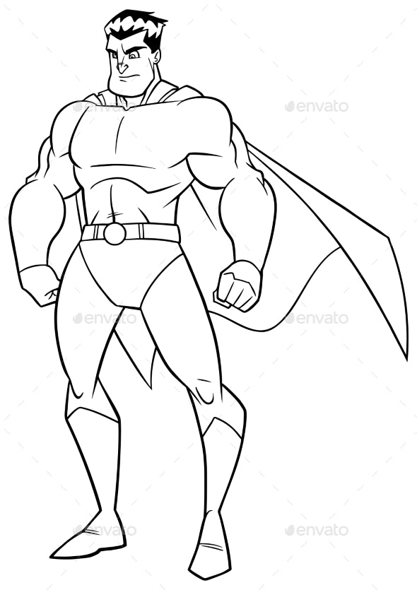 Superhero Watch Line Art - People Characters