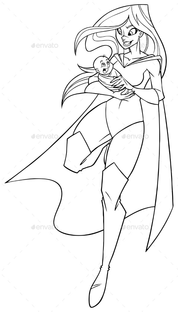 Super Mom with Baby Line Art - People Characters