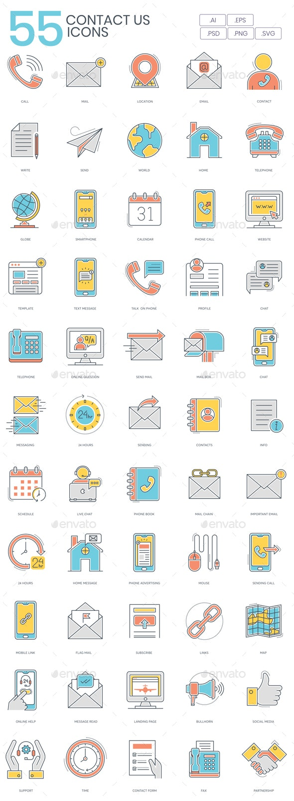Contact Us Icons - Color Line - Business Icons