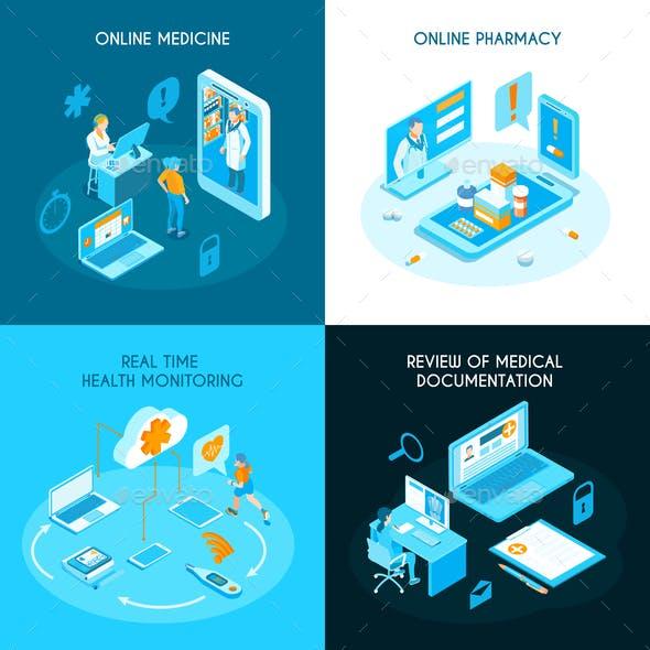 Online Medicine Isometric Concept