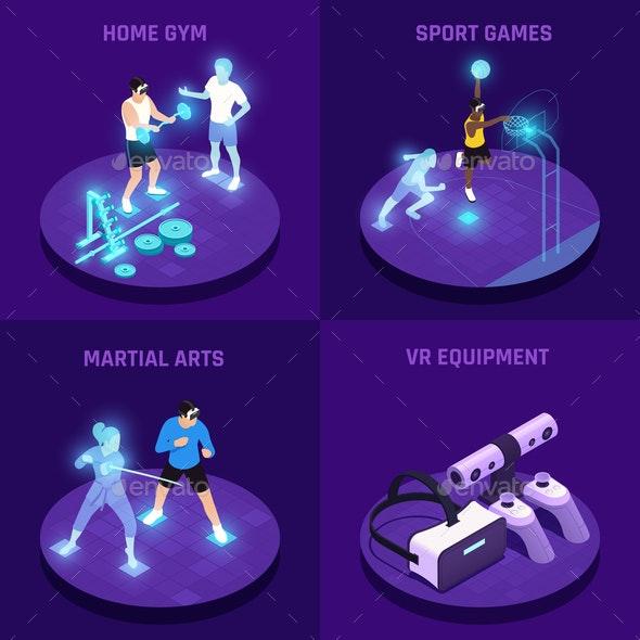 VR Sports Isometric Design Concept - Sports/Activity Conceptual