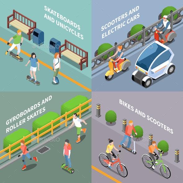 Eco Transportation Concept Icons Set - Travel Conceptual