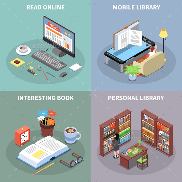 Reading and Library Concept Icons Set - Industries Business