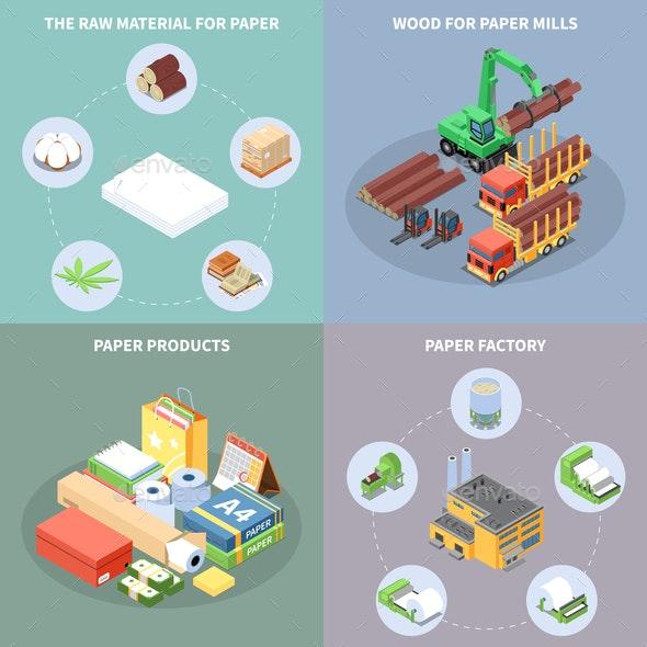 Paper Production Concept Icons Set - Industries Business