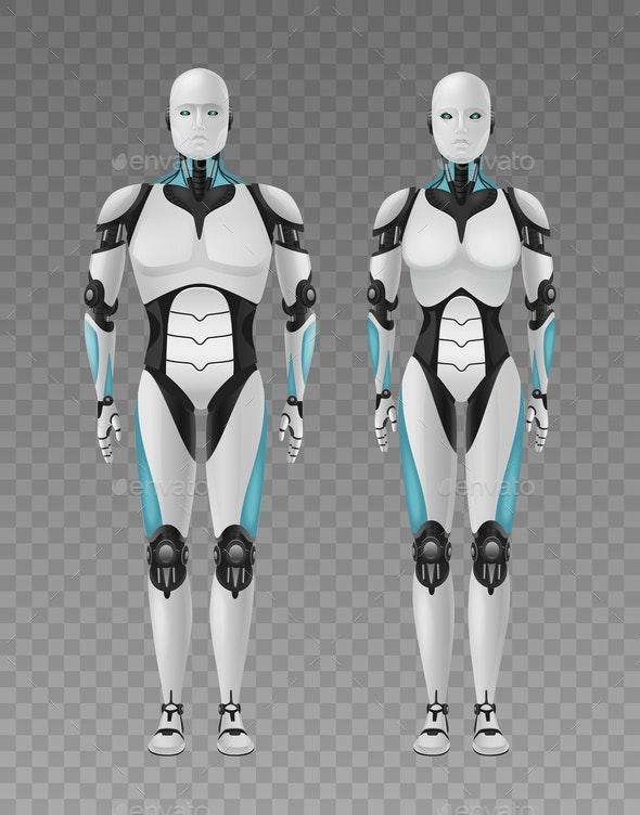 Realistic Robots Transparent Composition - Miscellaneous Vectors