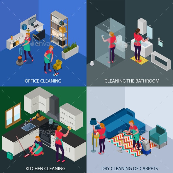 Professional Cleaning Isometric Design Concept - Services Commercial / Shopping