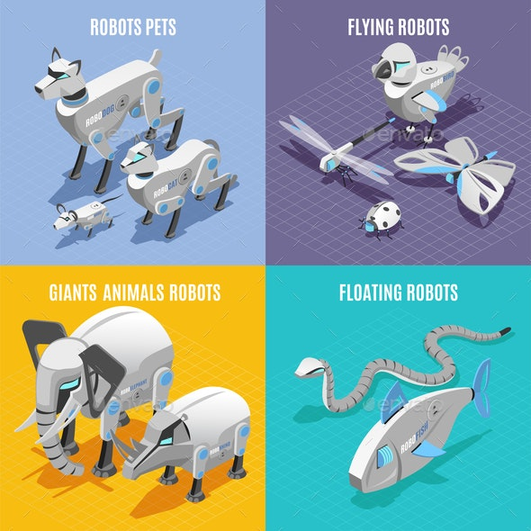 Animals Robots Isometric Concept - Animals Characters