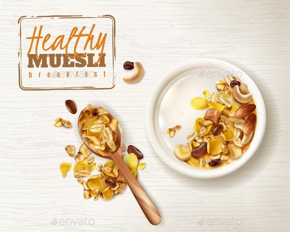 Muesli Plate Realistic Background - Food Objects