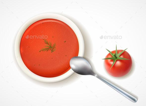 Tomato Soup Realistic Composition - Miscellaneous Vectors
