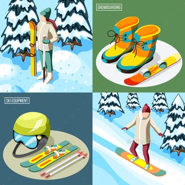 Ski Resort Isometric Design Concept - Sports/Activity Conceptual