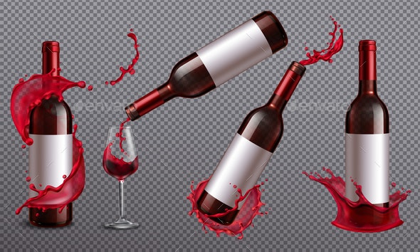 Wine Bottles Splash Set - Food Objects