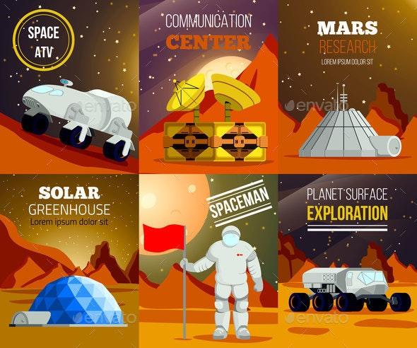Planet Colonization Flat Cards - Miscellaneous Vectors
