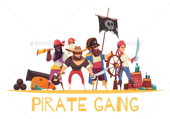Gang Pirates Cartoon Background - Miscellaneous Vectors