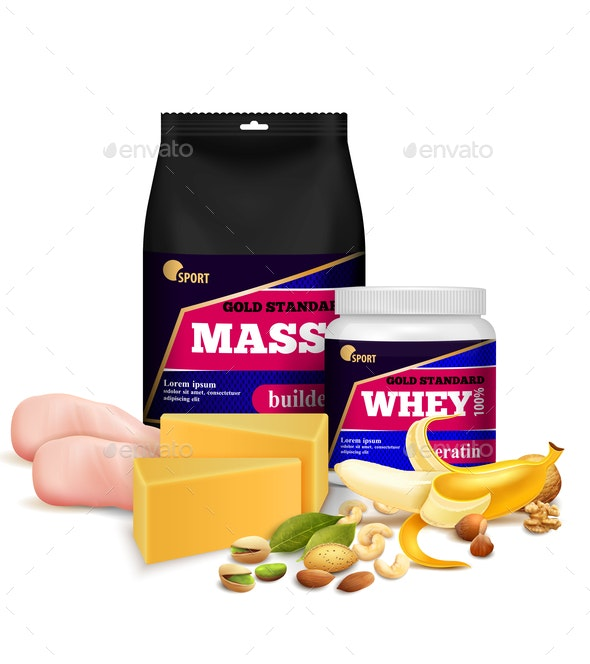 Fitness Sport Nutrition Realistic - Food Objects