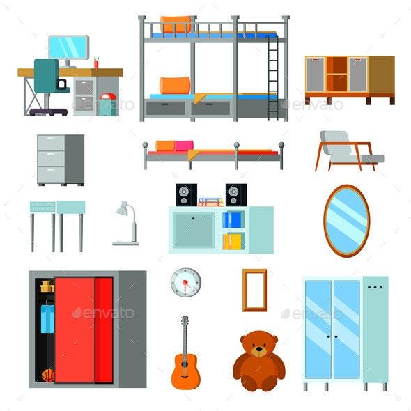 Teen Room Constructor Flat Icons - Miscellaneous Vectors