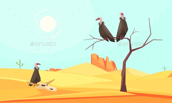 Desert Birds Landscape Composition - Animals Characters