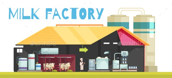 Milk Factory Production Background - Food Objects
