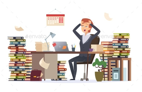 Overworked Businesswoman - People Characters