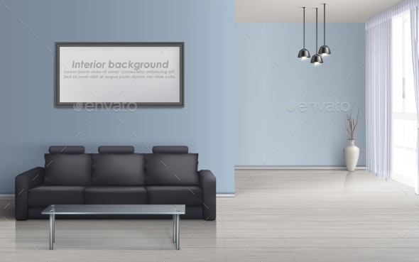 Vector Interior Mockup of Living Room with Sofa - Backgrounds Decorative