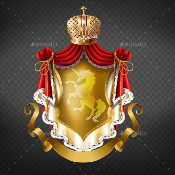 Vector Golden Royal Coat of Arms with Crown - Decorative Symbols Decorative