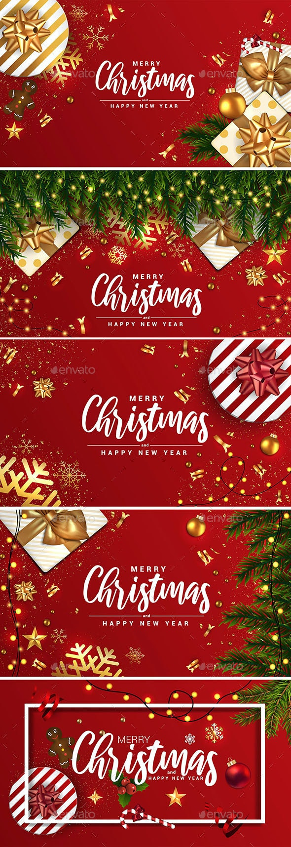 Merry Christmas and Happy New Year Banners - Christmas Seasons/Holidays