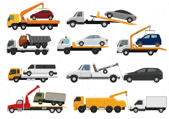 Tow Truck Vector Towing Car Trucking Vehicle - Man-made Objects Objects