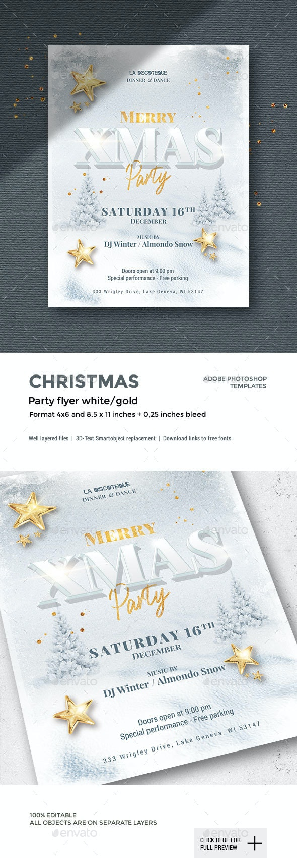White Christmas Party Flyer - 2 Formats - Holidays Events