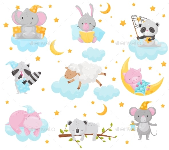 Animals Sleeping Under a Starry Sky - Animals Characters